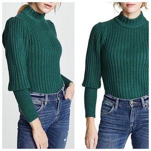 WAYF Hunter Green Puff Shoulder Sweater